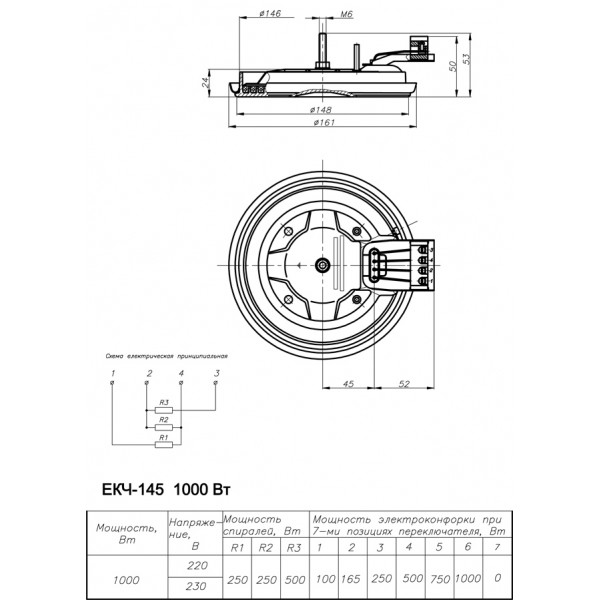 Електроконфорка ЕКЧ 145-1,0/220