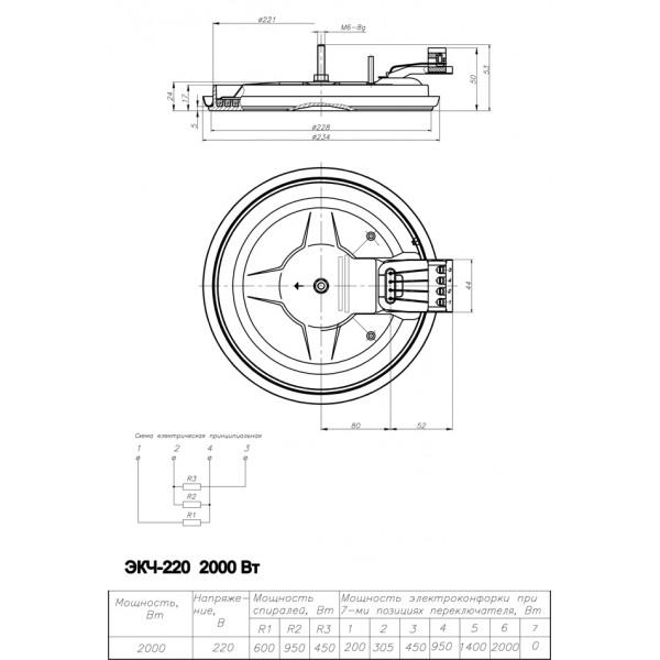Электроконфорка ЭКЧ 220-2,0/220
