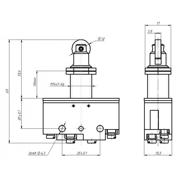Мікроперемикач ВП73-21-11232 (аналог МП-1105)