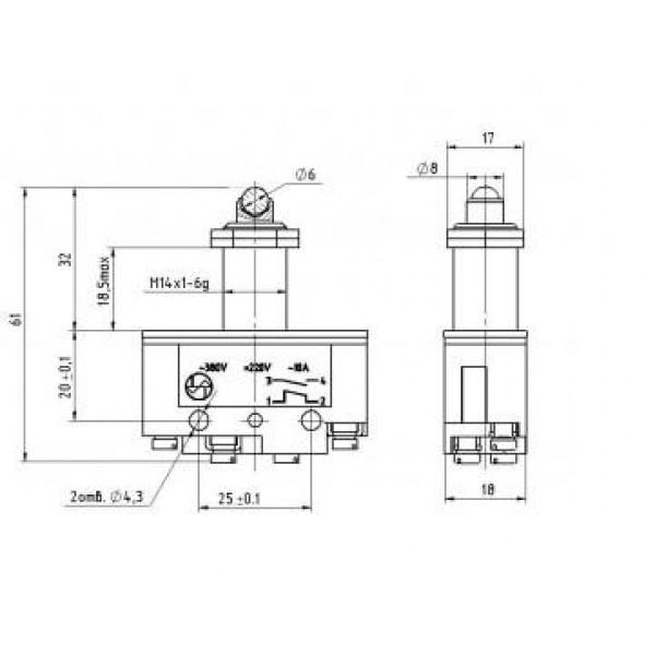 Мікроперемикач ВП73-21-11431 (аналог МП-1105)